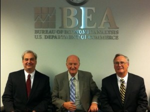 Brent Moulton (Associate Director), Mark Skousen and Steve Landefeld (Director) at BEA headquarters, Washington, D.C.
